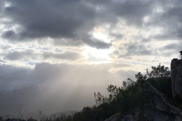 Light breaking through clouds